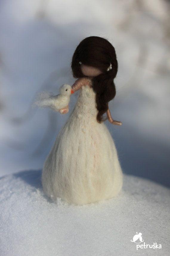 Felted Fairies and Snowman, SET, Winter Fairies, Needle felted Christmas Decorations, White Waldorf Fairies, Ooak Fairy doll, Snow Fairies