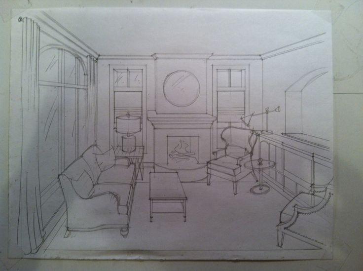 Perspective concept drawing - Living Room - Metal scheme