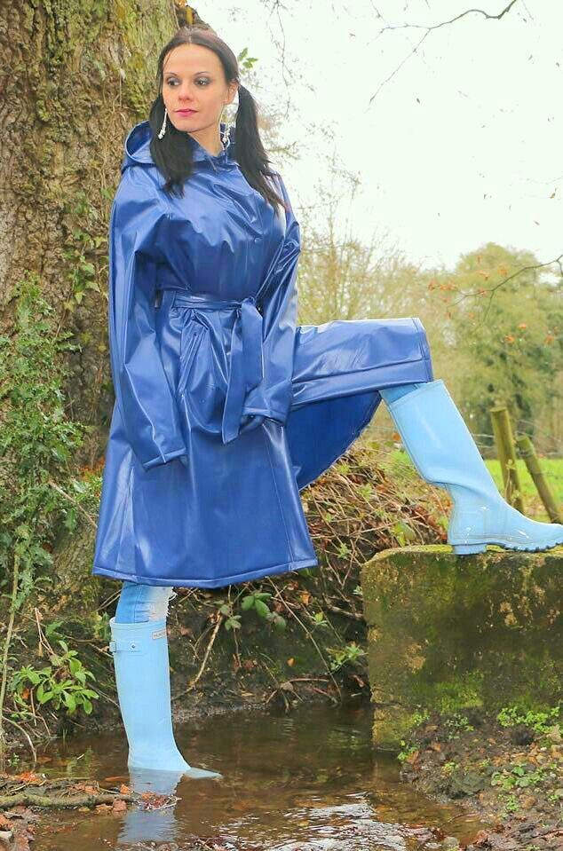 Powder blue wellies and royal blue raincoat