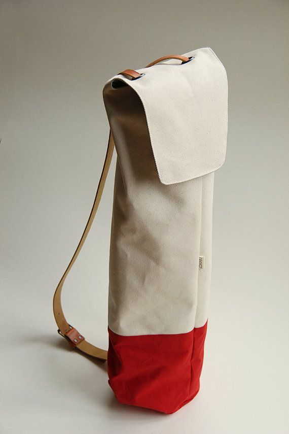 yoga bag waxed cotton with leather strap by rensz on Etsy
