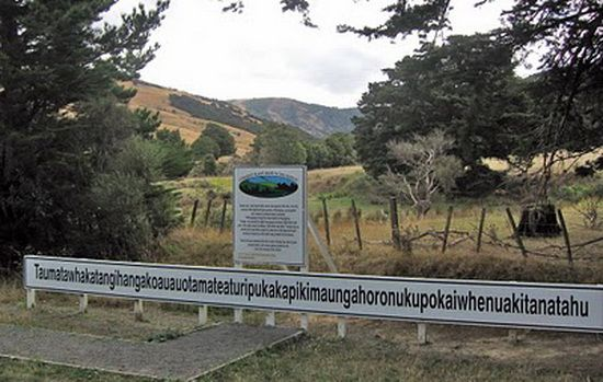 "The second longest geographical name that is accepted in the world is ""Taumatawhakatangihangak oauauotamateaturipukaka pikimaungahoronukupokaiwhe nua kitanatahu"" (85 letters) which is a hill in New Zealand – it is a maori phrase which translates to ""place where Tamatea, the man with the big knees, who slid, climbed and swallowed mountains, known as land-eater, played his flute to his loved one"". I"