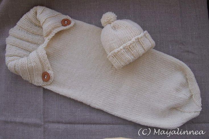 Crocheted hat and a babybag // Virkattu pipo ja vauvapussi