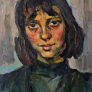 GIRL's PORTRAIT ORIGINAL Vintage Oil Painting by Soviet artist V. Karkots 1960s Female Portrait, Socialist realism, Unique High Quality art