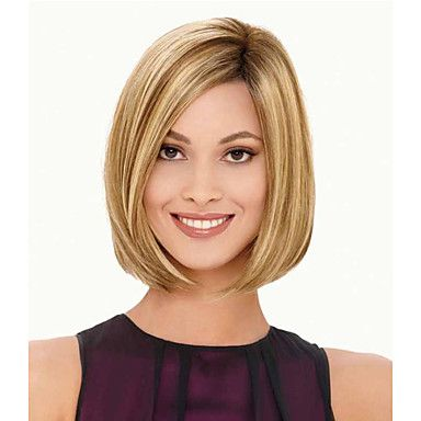 Fashionable Sweet Side Bang Gloden Medium LengthWave Synthetic Hair Wigs