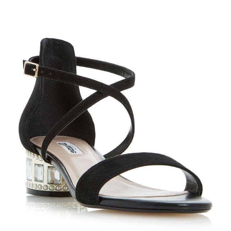 DUNE LADIES MERMAID - Jewel And Pearl Embellished Heel Sandal - black | Dune Shoes Online