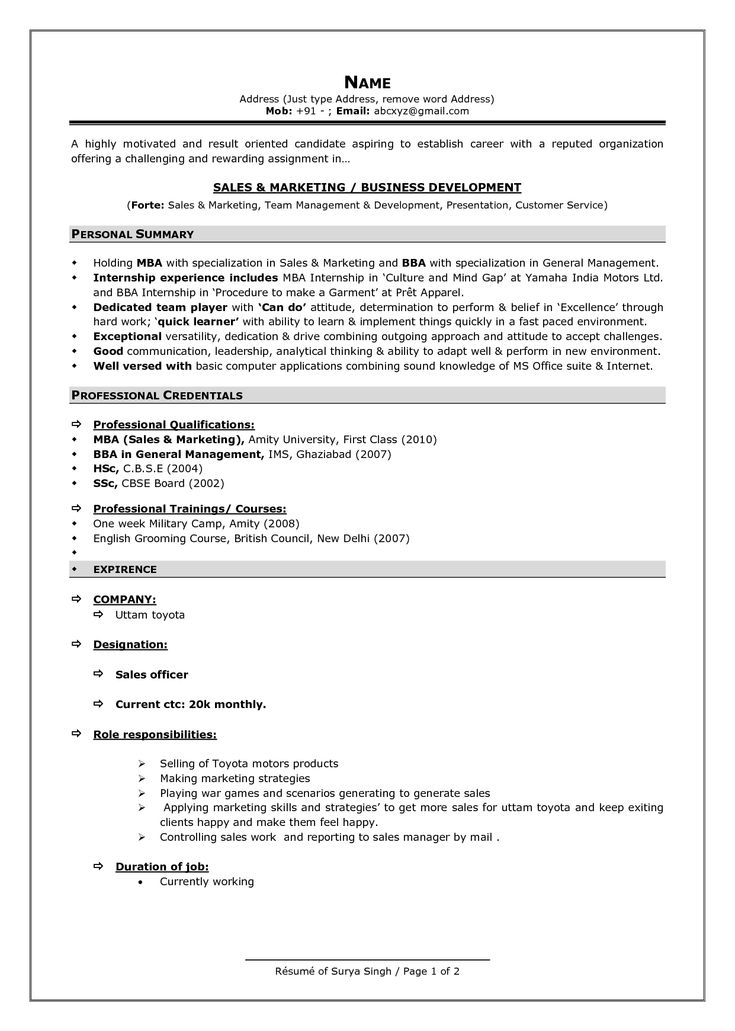 Sample Format Of Resume | Resume Format And Resume Maker