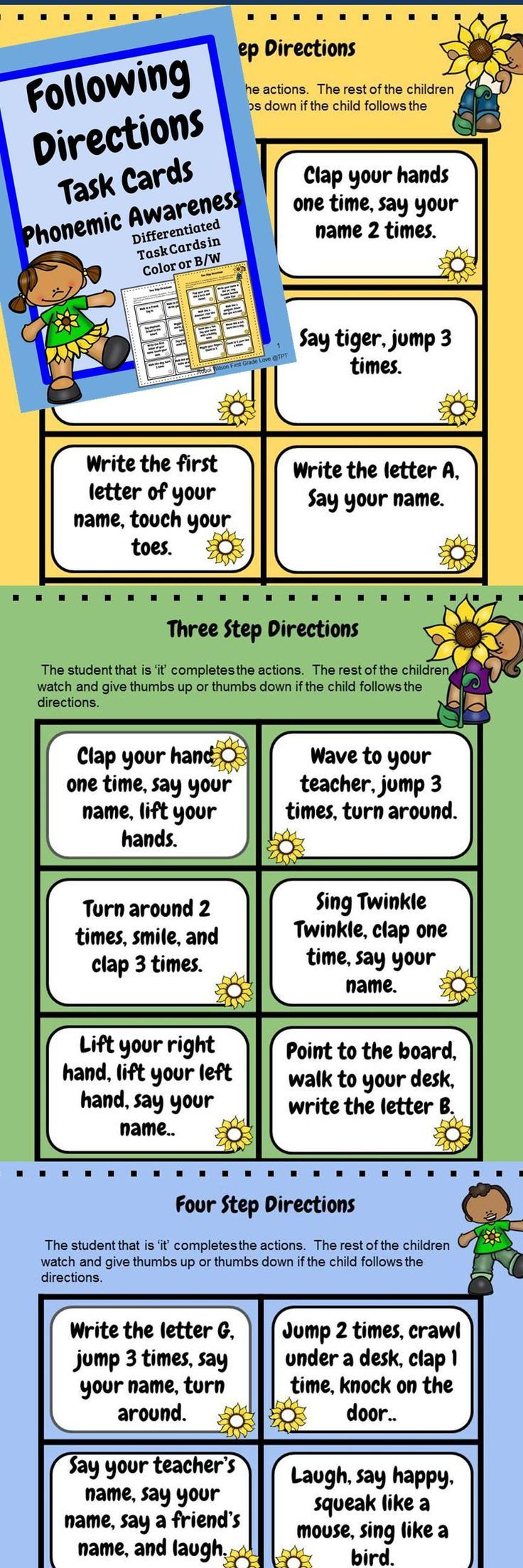 This product helps children perform fun actions that are in steps to develop listening so important for following verbal directions, which is essential later in phonemic awareness. There are 54 task cards differentiated by how many steps. Consider putting your students in small groups or partners to give directions to one another.