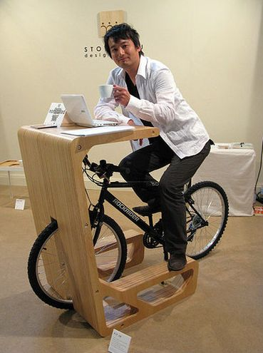 Multi-tasking at it's best; coffee, laptop, exercize & storage! - Small Space Bike Storage Desk