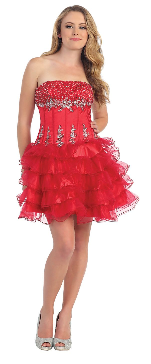 Stunning Sexy Red Short Strapless Homecoming Dress