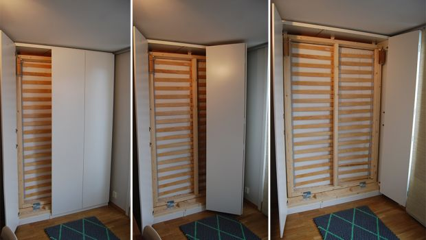 Hack an IKEA PAX cabinet to an affordable murphy bed                                                                                                                                                                                 More
