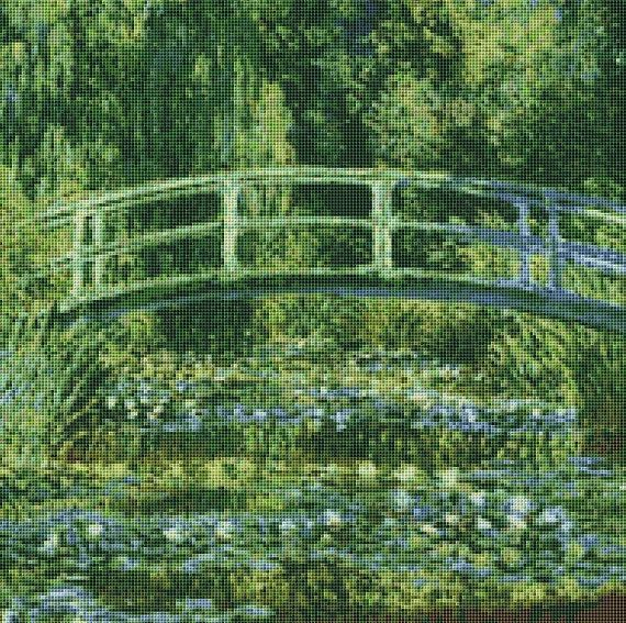 Claude Monet's Water Lily Pond Counted Cross Stitch Pattern / Chart, Instant Digital Download  (ABA019)