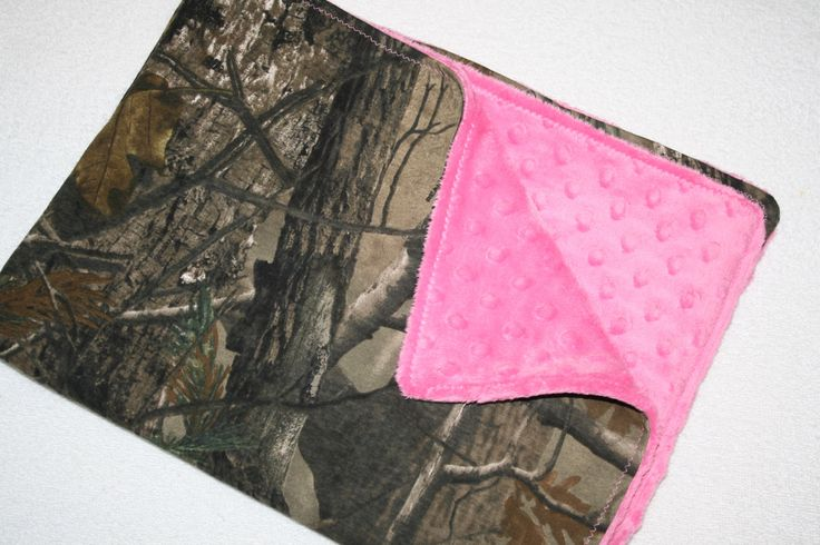 Camo and  pink stroller baby blanket (27 x 21)- hot pink minky dot and realtree camo camouflage baby girl blankey. $26.00, via Etsy.