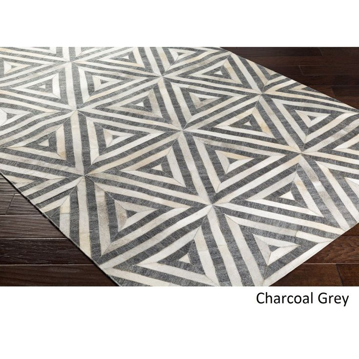 Hand-Crafted Estafeta Viscose/Leather Rug (5' x 7'6) (Charcoal Grey), Beige