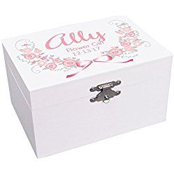 Personalized Flower Girl Pink and Gray Garland Jewelry Box