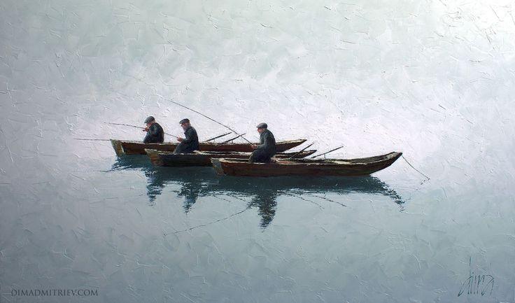 Fishermen - Painting,  110x185x2 cm ©2013 by DIMA DMITRIEV -                                                                                                                                Figurative Art, Impressionism, Realism, Canvas, Boat, Sailboat, Seascape, Spirituality, Water
