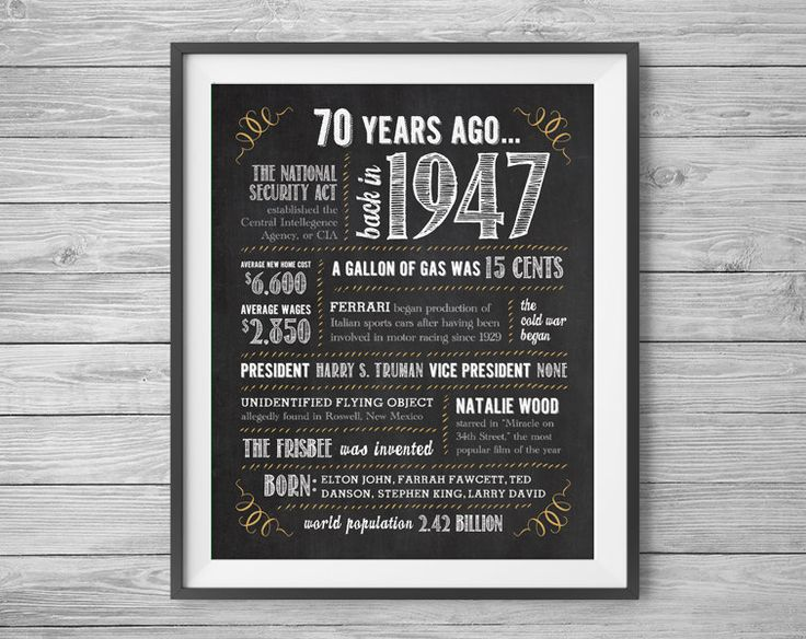70th Birthday or Anniversary Sign, Printable 8x10 and 16x20 Party Supplies, 70 Years Ago in 1947, Instant Digital Download, Print at Home by NviteCP on Etsy, 70th Birthday, 70th Anniversary, 1947 sign, 70th