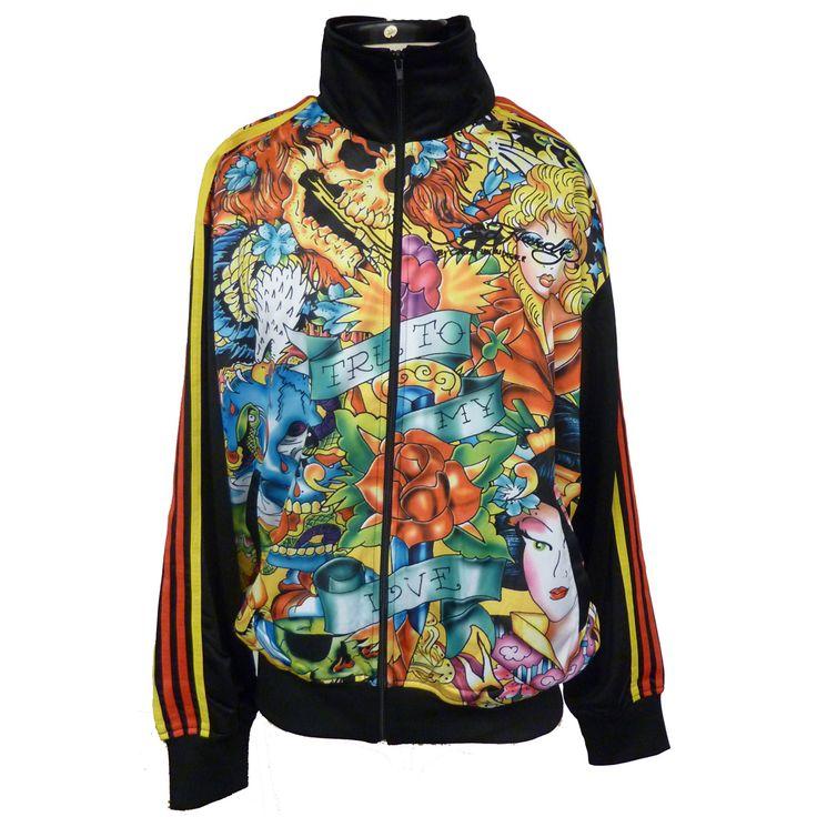 Ed Hardy Mens All Over Track Jacket – Black