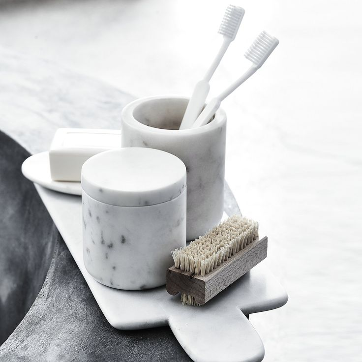 Marble Toothbrush Holder | The White Company US. Shopping from the UK? -> http://www.thewhitecompany.com/home/home-accessories/new-in/marble-toothbrush-holder/?refCode=BMHTH
