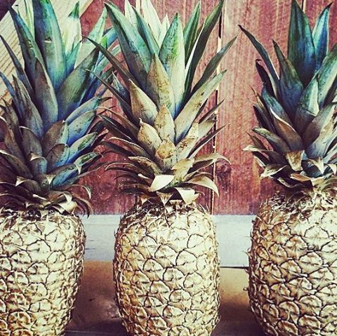 Gold pineapples! Perfect for rehearsal dinner table centerpieces!