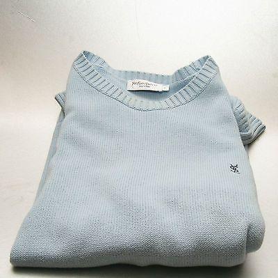 YSL cotton crew neck jumper blue medium