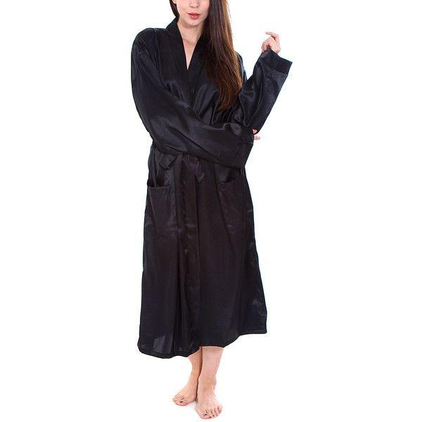 Simplicity Black Satin Pocket Kimono Robe ($30) ❤ liked on Polyvore featuring intimates, robes, satin robe, kimono dressing gown, long kimono robe, long satin robe and lightweight robe