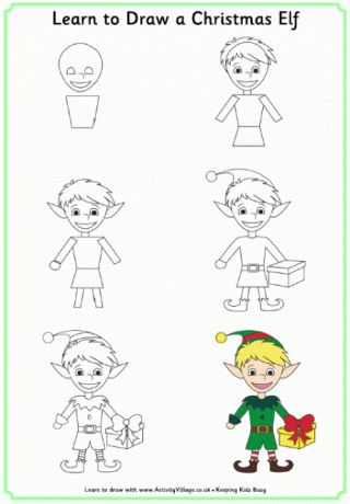 17 best ideas about easy christmas drawings on pinterest - Dessiner un elfe ...