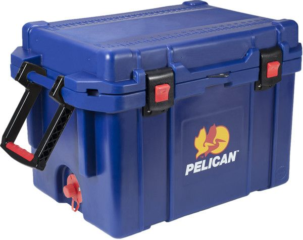 """Pelican ProGear™ 45QT Elite Cooler Midnight Blue - The quality you've come to expect from Pelican now also matches your favorite things in life! Show off your team's colors or your favorite hue. Up to 10 days ice retention*, freezer grade gasket, 2"""" polyurethane insulation, Guaranteed for life, Assembled in the USA, Bear resistant certified from the Interagency Grizzly Bear Committee."""