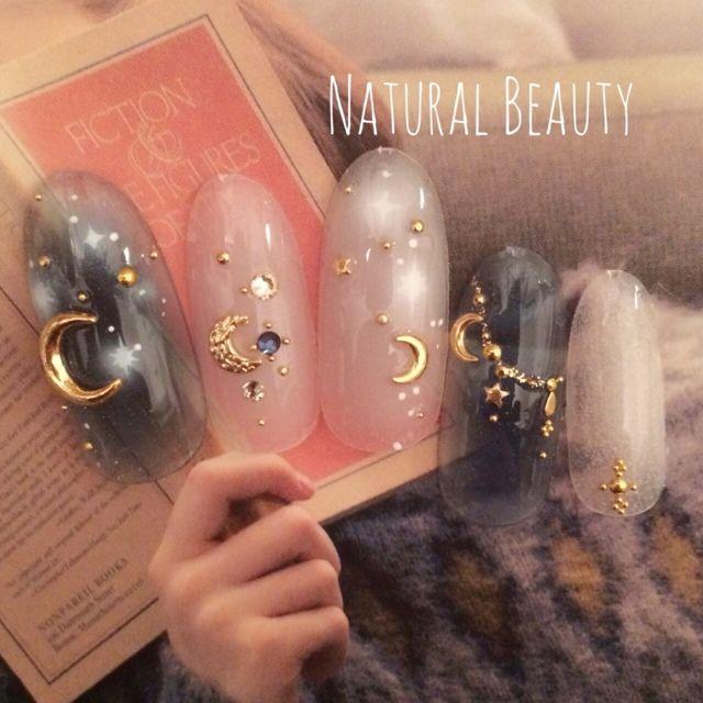 ネイル 画像 Natural Beauty 赤坂 1118070 ベージュ ブルー グラデーション デコ その他 秋 パーティー ハロウィン ソフトジェル ハンド ショート ミディアム ロング