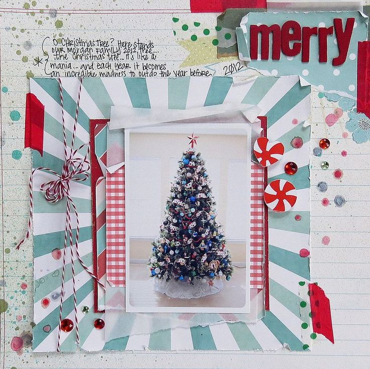 love this single photo layout of a Christmas tree Designs of Paddy Mack Vintage Christmas line from Pretty Paper, Pretty Ribbons
