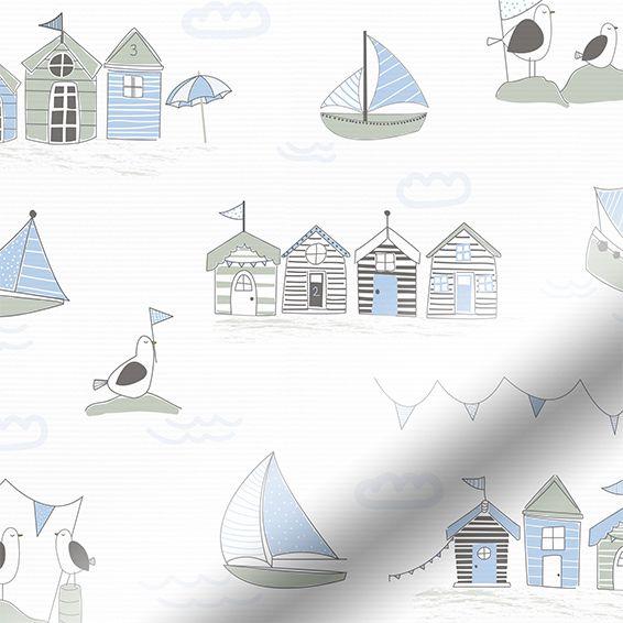 Splash Beach Hut Blue Roller Blind