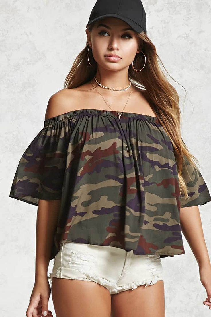 Camo Off-the-Shoulder Top | Forever 21 - 2000109078