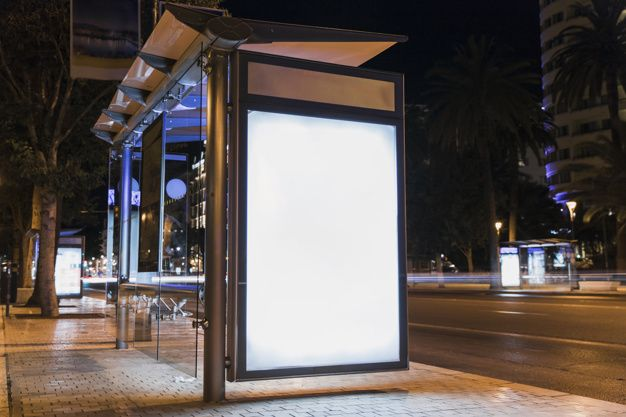 Download Blank Advertising Billboard On City Bus Stop For Free In