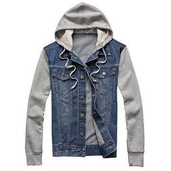 Mens Jean Jacket Hooded Denim Jacket