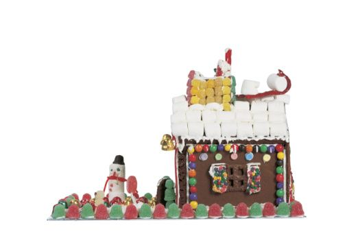 Gingerbread Houses - Pictures and Ideas: Gingerbread House Picture with Marshmallow Snowman