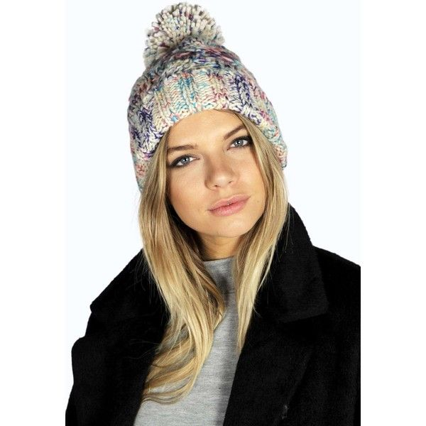 Boohoo Erin Mixed Yarn Bobble Hat ($14) ❤ liked on Polyvore featuring accessories, hats, cream, bobble hat, cream beanie, mitt, beanie cap hat and bobble beanie