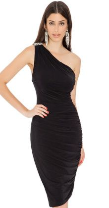 Grecian Goddess Dress Black. Gorgeous diamanté that sits beautifully on the shoulder.  $55 AUD