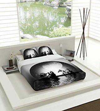 TSUKI Juego Funda Nórdica YAKAN cama japonesa negro / blanco / Zen Chillout