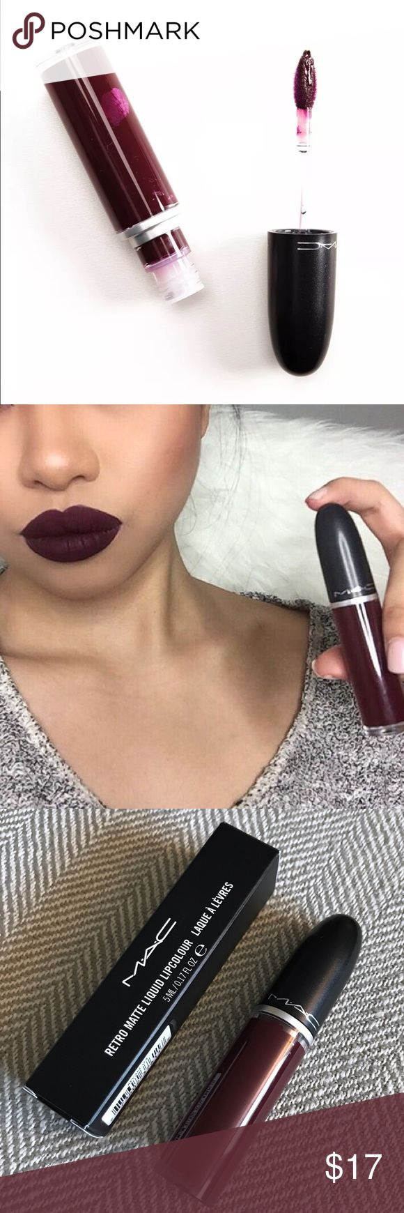 MAC High Drama Retro Matte Liquid Lipstick Authentic. Brand new in box. Matte finish. Color is High Drama, a deep plum. This long-wearing liquid lip color wears evenly and smoothly for eight hours.  Non-feathering, non-bleeding MAC Cosmetics Makeup Lipstick