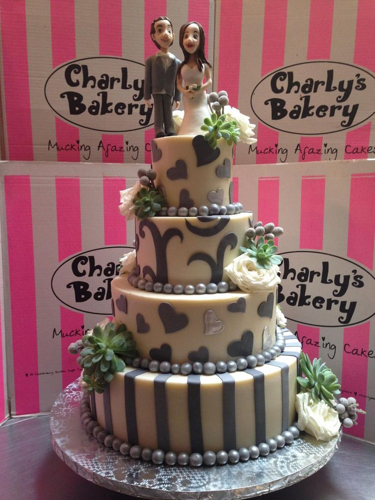 Spoon please? @charlysbakery 1 of our latest 4 tier wedding cakes in shades of grey & ivory, with Succulents & Roses Embedded image permalink