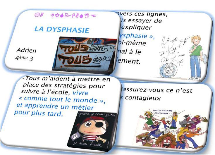 Exposé d'Adrien sur la dysphasie. Pour expliquer aux jeunes et aux enfants le quotidien d'un enfant dysphasique.