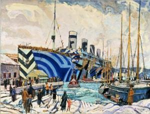 War artist Arthur Lismer captured the return of the troopship SS Olympic (centre) a sister ship to the titanic, to Halifax harbour following the First World War. Olympic's multi-coloured dazzle camouflage, added in 1917 at the height of the German U-Boat threat, was intended to make the ship more difficult to identify and target.