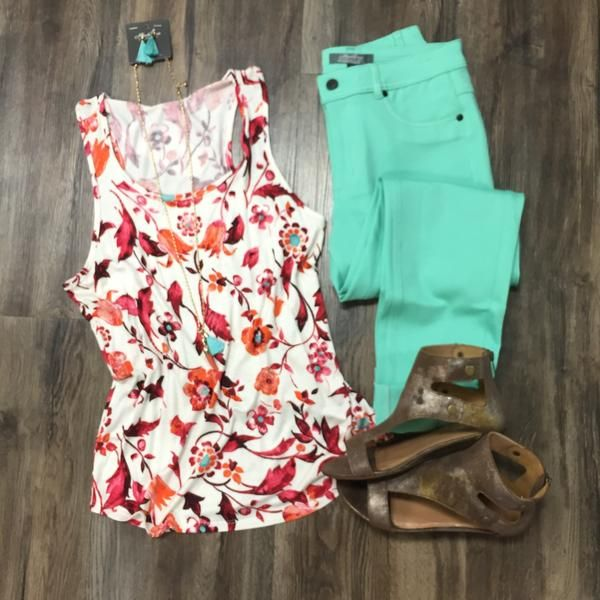 Floral Racerback Tank | Outfit Inspiration | Spring 2017 Wardrobe | Colored Skinnies | Mint | Stitch Fix Ideas | What to wear | Flatlay | Summer | How to Wear it