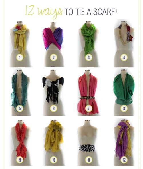 12 ways to tie a scarf! Scarves are a great way to easily add the hot color of the moment without spending too much. And these clever ways to tie them add that much more variety to the simple piece.