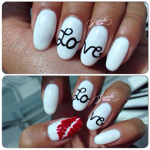 Anniversary Nails Valentines day nails LOVE nails by JEWELSNAILS