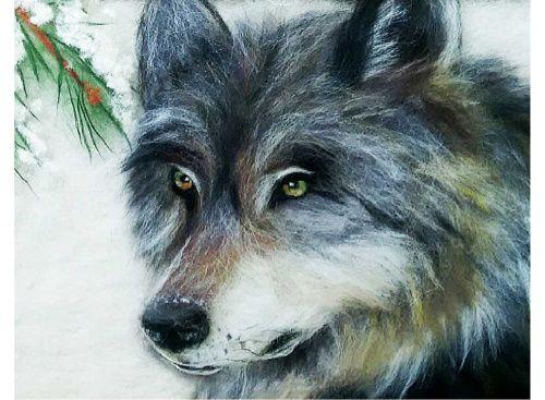Картина шерстью «Волк» Сухое валяние, ручная работа, поделки своими руками, картины из шерсти, теплая картина, живопись шерстью
