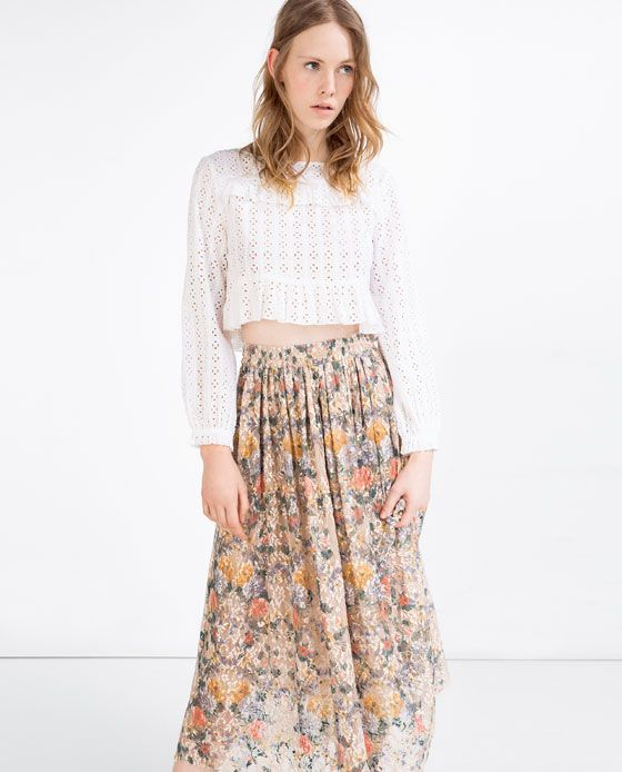 Image 1 of FRILLED CROPPED BLOUSE from Zara