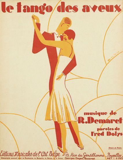 René Magritte's 1926 Art Deco sheet music cover illustration for 'Le Tango des Aveux,' Éditions Musicales de l'Art Belge, Brussels.