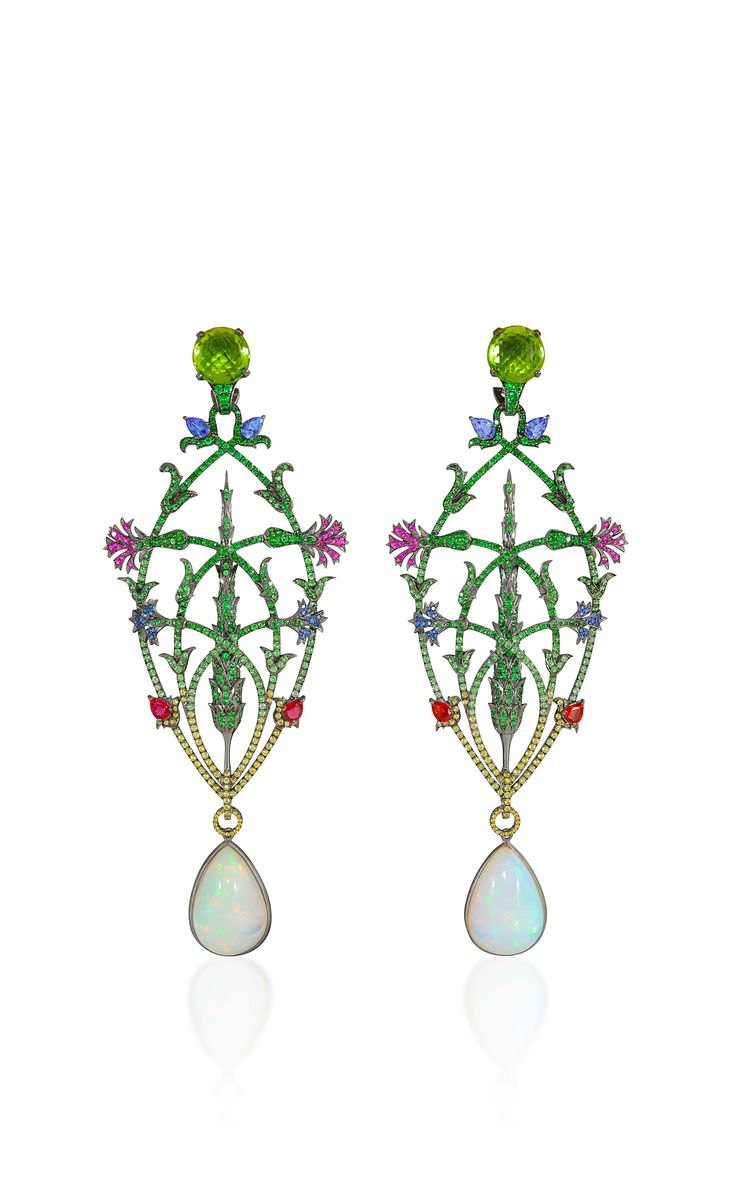 Opal and Peridot Drop Earrings from the Topkapi Collection with peridots, rubies, tanzanites, tsavorites, yellow sapphires and sapphires in 18k black rhodium gold by Lydia Courteille