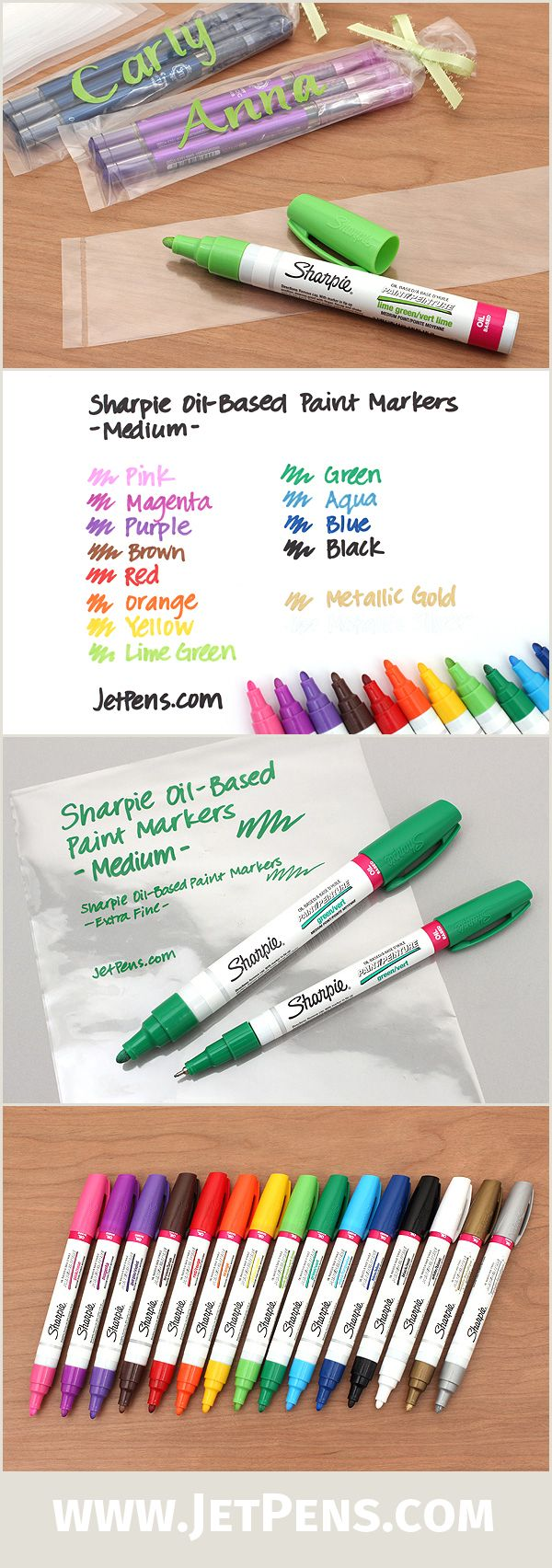 Great for writing on almost any nonporous surface, the Sharpie Oil-Based Paint Markers contain a thick, paint-based ink that dries with a glossy and opaque appearance.