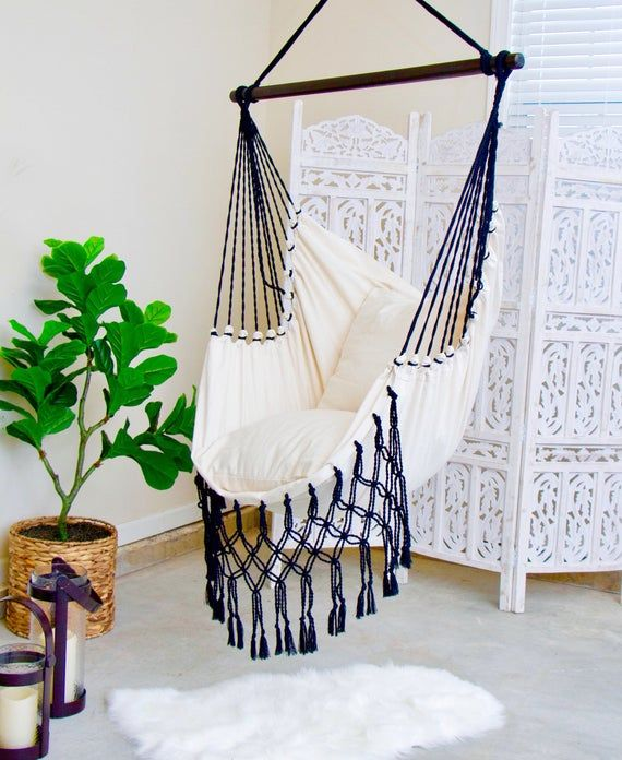 Black And White Macrame Hammock Chair Boho Hammock Swing Etsy Diy Hammock Chair Swinging Chair Hammock Chair